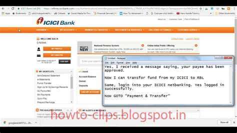 transfer icici bank how to add payee and transfer money from icici to
