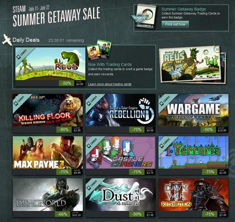 Steam Deal Calendar Steam Summer Sale 2013 Day 5 Deals And Trading Card Sets