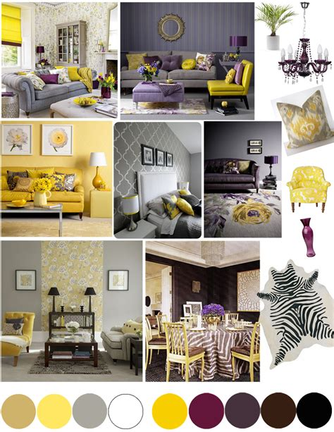 color palette yellow and plum beige bedrooms and gray