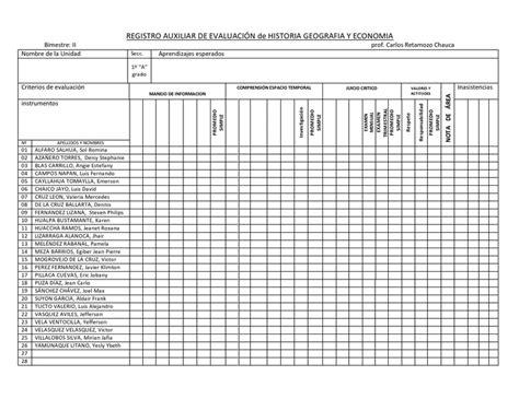 registro auxiliar de inicial 2015 modelo registro auxiliar de evaluaci 211 n 1 186 a