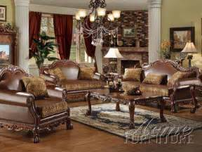 Leather And Fabric Living Room Sets Acme Furniture Dresden Traditional Pu Leather Fabric 2 Pieces Sofa Living Room Traditional