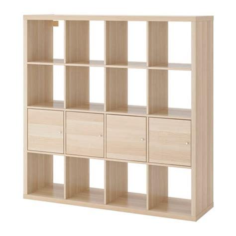 Ikea Kallax Unit Rak Putih 77x147cm kallax unit rak dengan 4 sisipan efek kayu oak diwarnai