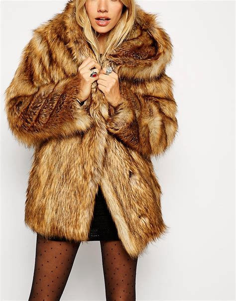 Faux Fur Hooded Coat asos asos faux fur hooded vintage coat at asos