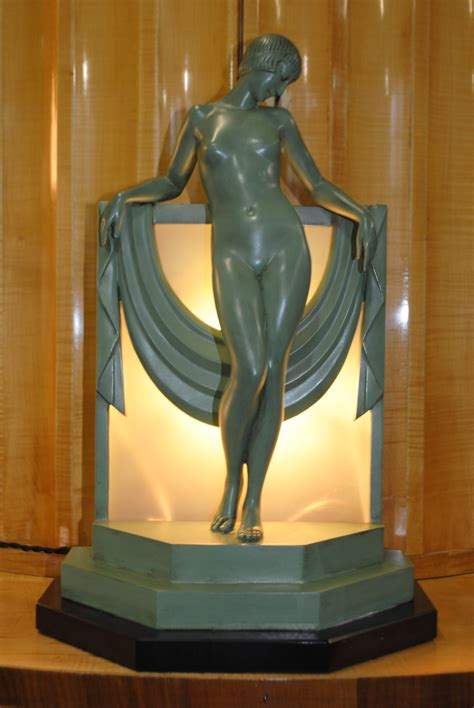 art deco figural lamp pierre le faguays serenite