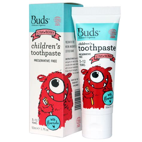 Buds Childrens Toothpaste 50ml 3 12 Year Blackcurrant 3 12 years toothpaste with fluoride 50ml