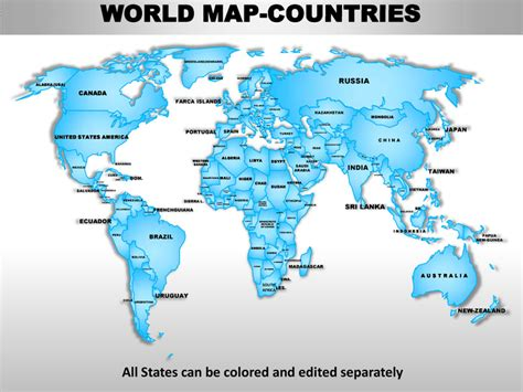 world map with country names for powerpoint world editable continent map with countries
