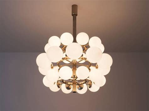 Large Metal Chandelier Large Metal Chandelier With Opaline Glass Spheres For Sale At 1stdibs