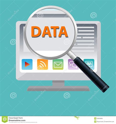 Data Search Data Magnify Stock Vector Image 50633695