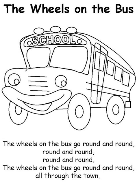bus coloring pages preschool wheels on the bus color page and song kids pinterest