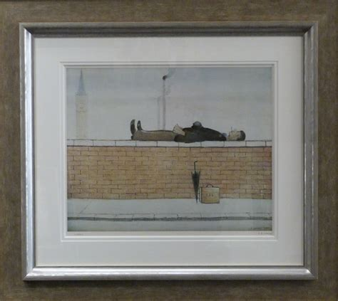 fine art floor ls man lying on a wall by l s lowry signed limited edition