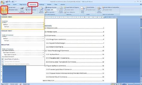 video tutorial membuat daftar isi cara membuat daftar isi table of contents pada microsoft