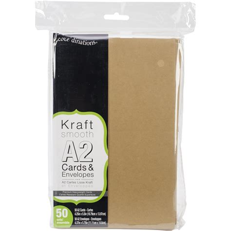 Kraft Gift Card Sleeves - 50 kraft cards and envelopes a2 4 375 x 5 75