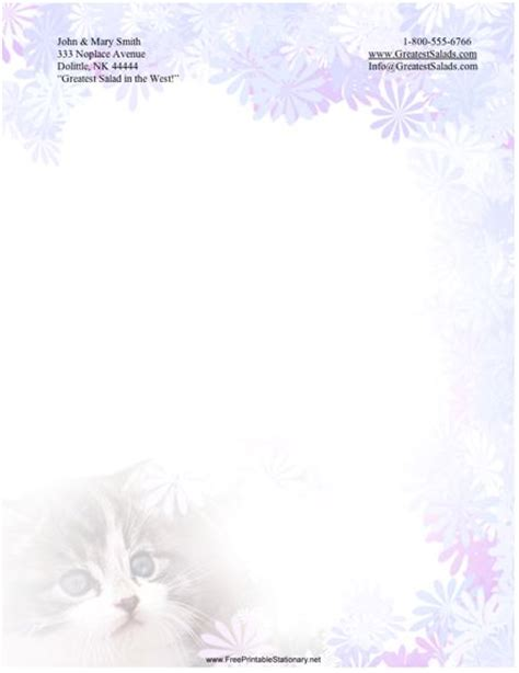 printable cat stationery kitty stationery