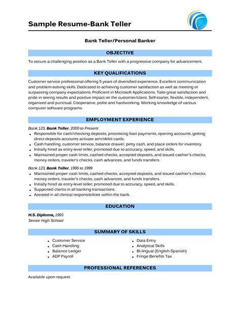 Bank Resume Sles Teller No Experience sle of bank teller resume with no experience http