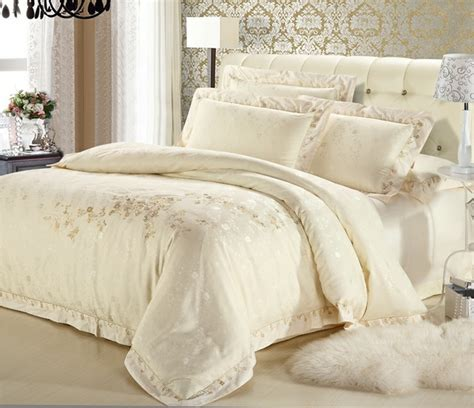 embroidered bedding classic white silver gold silk satin bedspreads