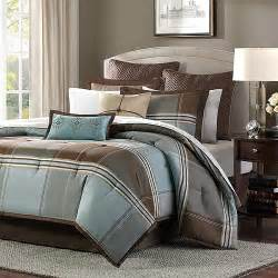 Bed Bath And Beyond Bathroom Curtains Home Essence Daniel 8 Piece Comforter Set Blue Brown