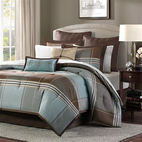 Brown And Blue Bedding home essence daniel 8 comforter set blue brown
