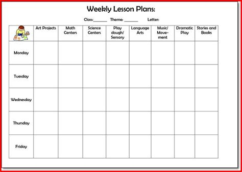 Arts And Crafts Home Plans by Preschool Weekly Lesson Plan Sample Kristal Project