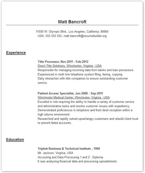 resume exles created with our resume builder tool