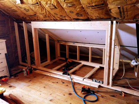 a frame bedroom ideas built in beds in attic the frame work for a built in bed