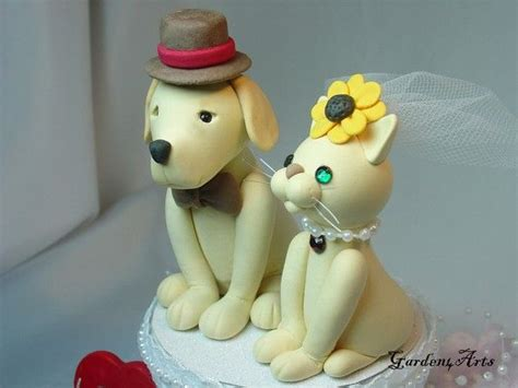 Custom Wedding Cake Topper  Dog & Cat Love with circle