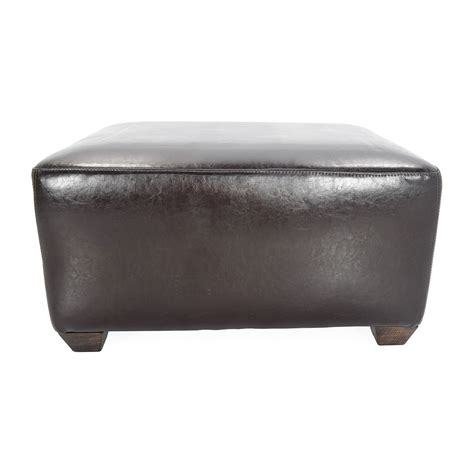 60 Off Custom Brown Leather Ottoman Storage Custom Storage Ottoman