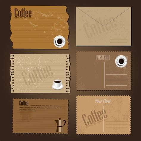 Temple Coffee Gift Card - retro coffee post card vector free vector graphic download