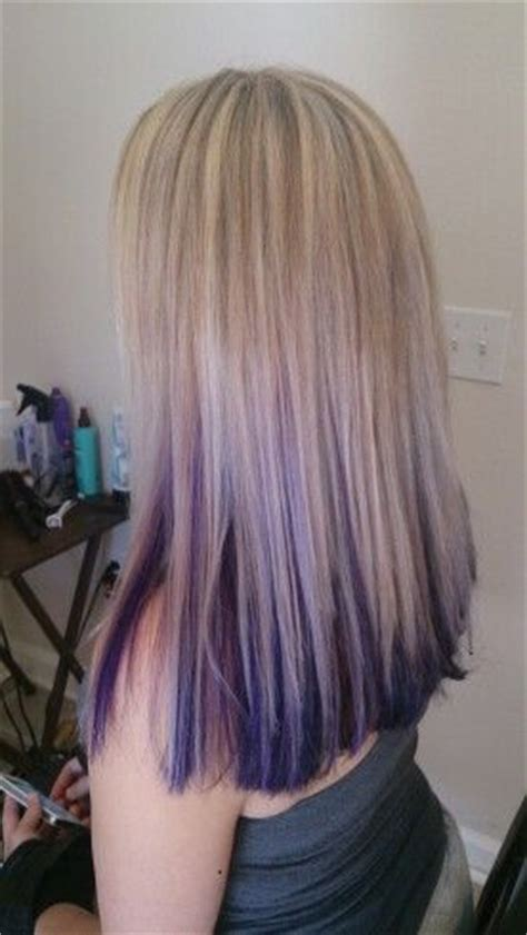 blonde with violet red underneath hair i ve done light blonde highlights with purple peekaboo underneath