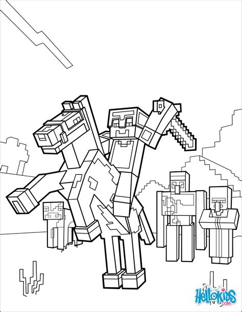 Minecraft Coloring Page  Ride A Horse To The Horizon Pages sketch template