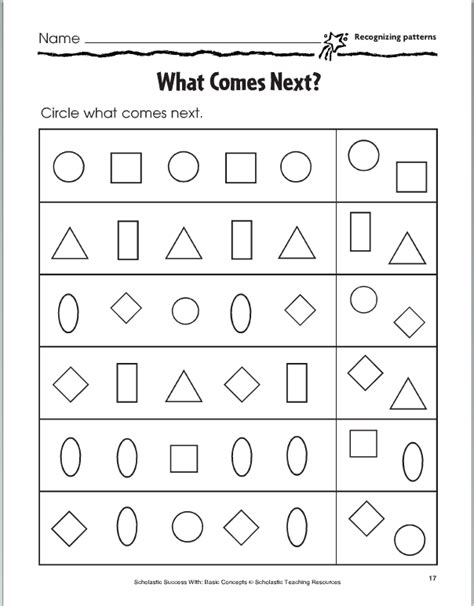 patterns with shapes and pictures worksheets lesson four copy and extend patterns activities