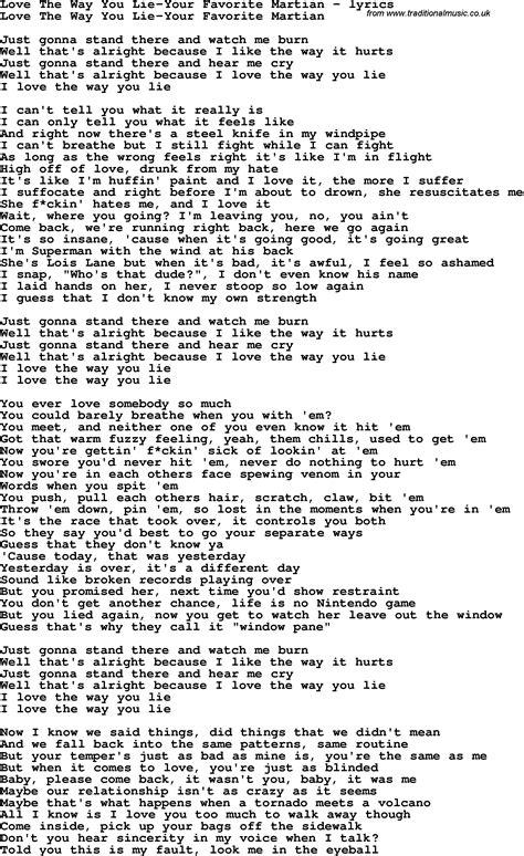 love the way you lie part 2 lyrics love song lyrics for love the way you lie your favorite