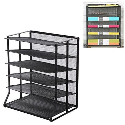 wire file holder desk 6 tier black wire mesh vertical trays document file
