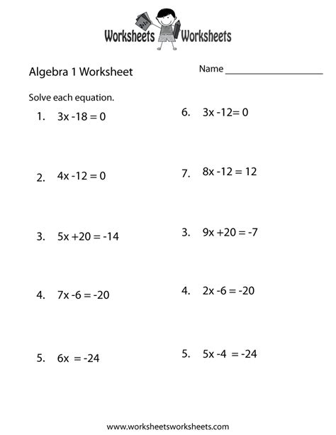 Math Worksheets Algebra 1 15 best images of algebra worksheets in beginner