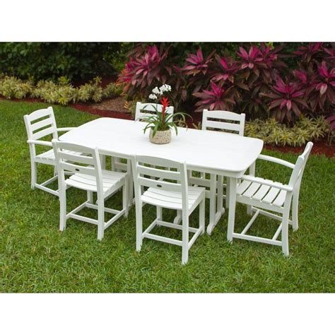 White Patio Dining Sets Polywood La Casa Cafe White 7 Patio Dining Set Pws131 1 Wh The Home Depot