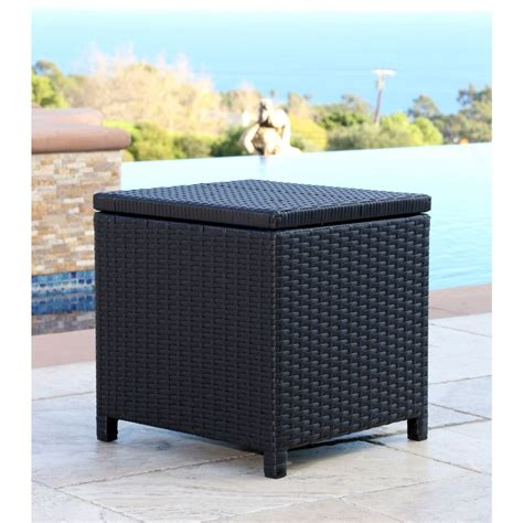 Wicker Storage Ottoman Abbyson Living Newport Outdoor Black Wicker Storage