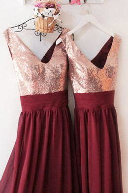 burgundy  neck floor length bridesmaid dress   rose