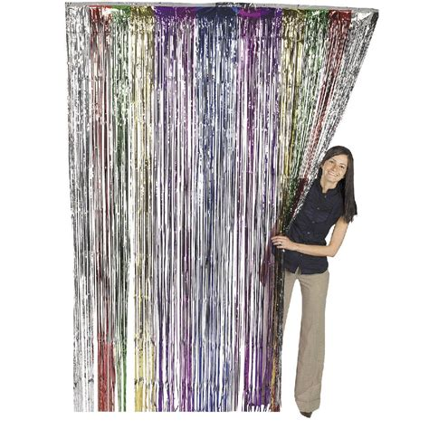 iridescent fringe curtain silver metallic fringe curtain party foil tinsel room