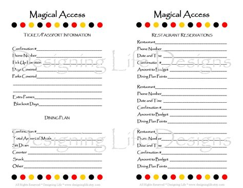free printable disney vacation planner 7 best images of mini binder printables lists mini