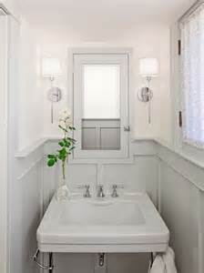 Wainscoting Bathroom Ideas Pictures Bathrooms Chrome Sconces Fixtures Gray Wainscoting Gray Pedestal Sink Gray Medicine Cabinet