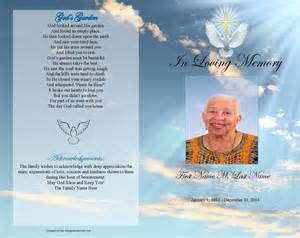 funeral program templates dove gold cross