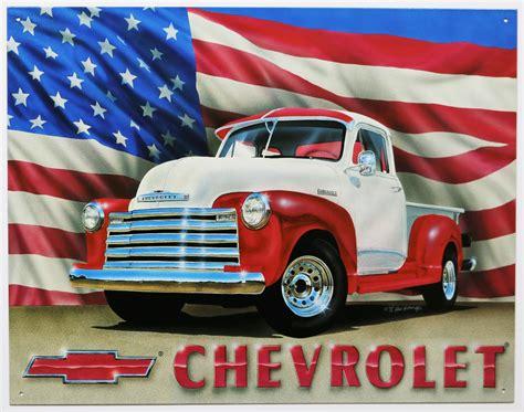chevrolet flag chevrolet truck tin metal sign 1950 chevy american