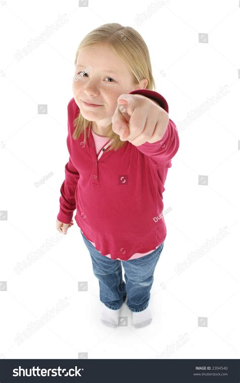11 year old girl with blonde hair beautiful 11 year old girl pointing stock photo 2394540