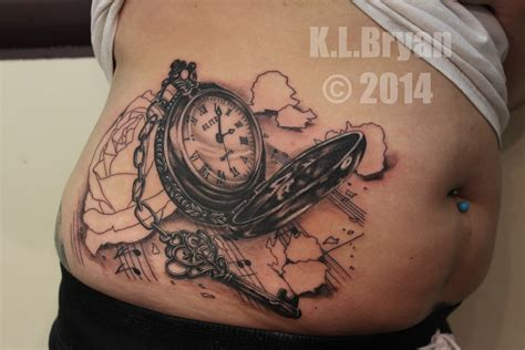 pocket watch with roses tattoo pocket and sitting one by danktat on