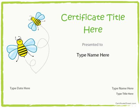 blank certificates blank certificate template for kids