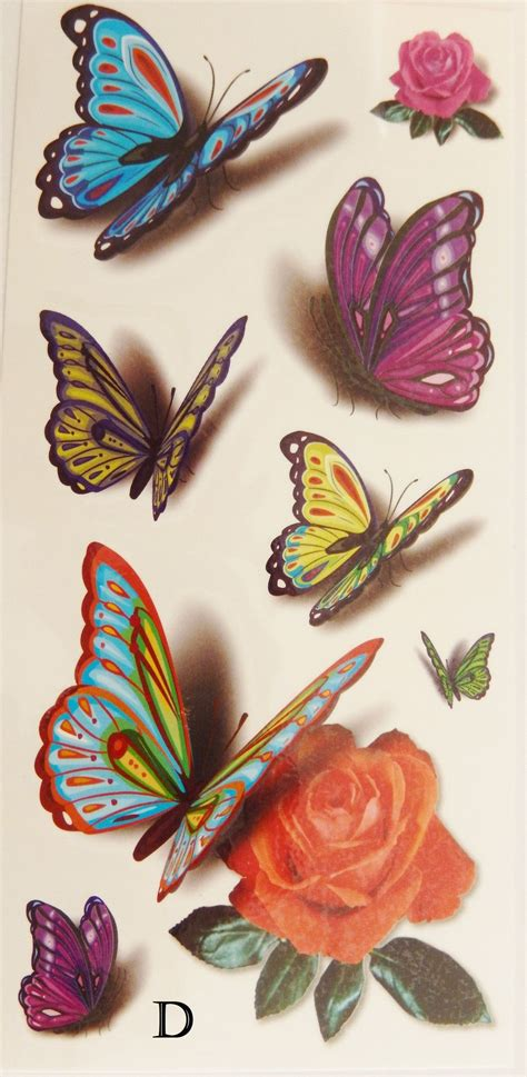 rose temporary tattoo colorful 3d butterflies roses temporary tattoos
