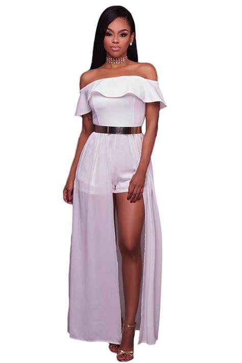 One Shoulder Jumpsuit Dress Import Bangkok womens frill shoulder chiffon maxi romper dress white pink