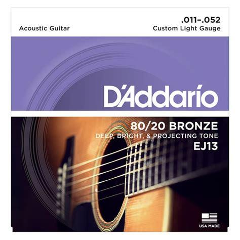 d addario d addario ej13 80 20 bronze acoustic strings custom light