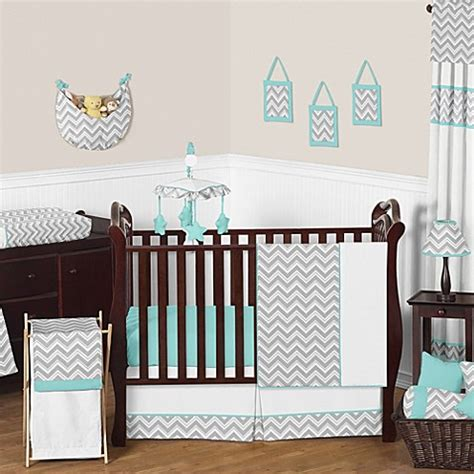 Grey And Turquoise Crib Bedding Sweet Jojo Designs Zig Zag 11 Crib Bedding Set In Turquoise Grey Bedbathandbeyond