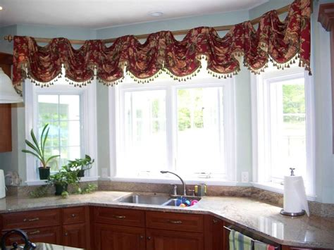 kitchen curtains and valances ideas kitchen swag curtains valance window treatments design ideas