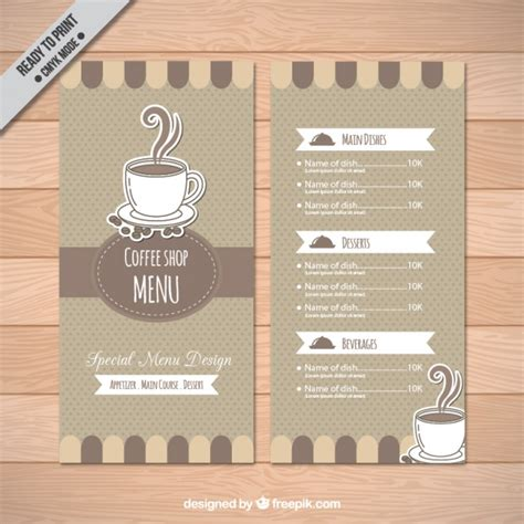 coffee shop menu template vector free